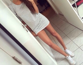grey dress style dress white stribes