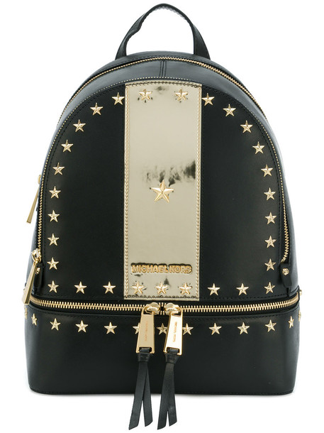 metal women backpack leather black bag