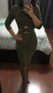 dress,suede dress,suede,bodycon dress,bodycon,cut-out dress,olive green,midi dress,midi,clubwear