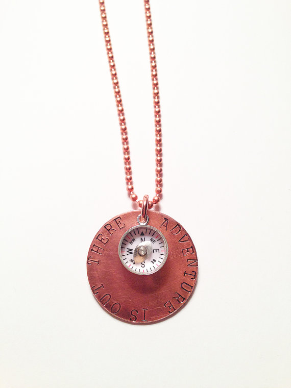 Adventure is Out There  Hand Stamped Copper Necklace by ShopCheni