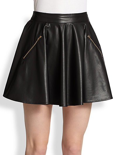 Line & Dot - Faux Leather Skater Skirt - Saks.com