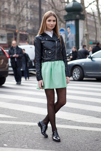 shoes black leather jacket mint skirt black tights black oxford shoes blogger