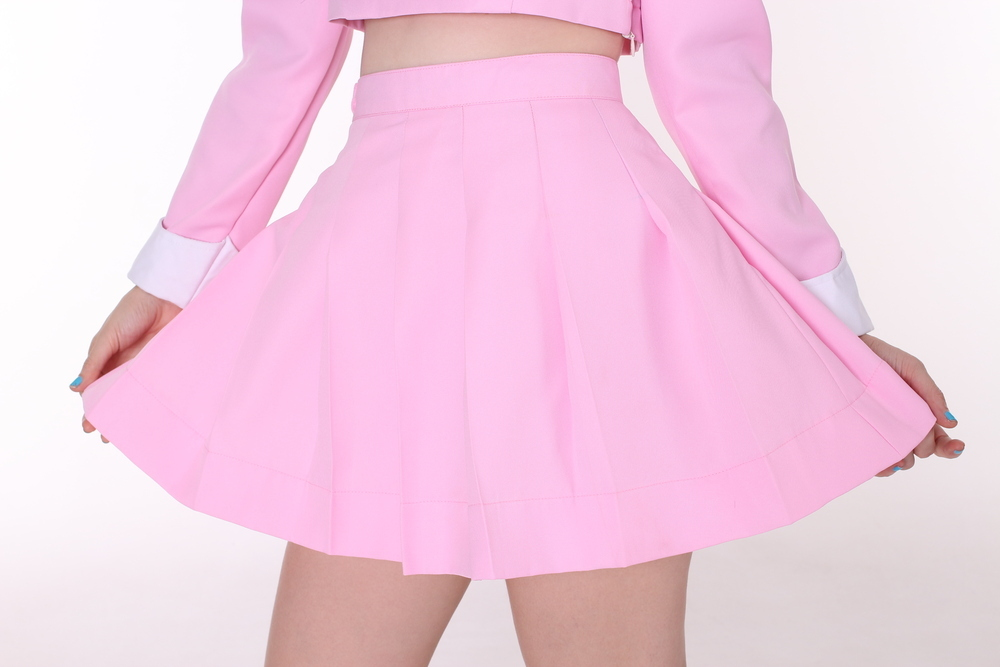 For Dinner — Made To Order - Baby Pink Pleated Mini Skirt