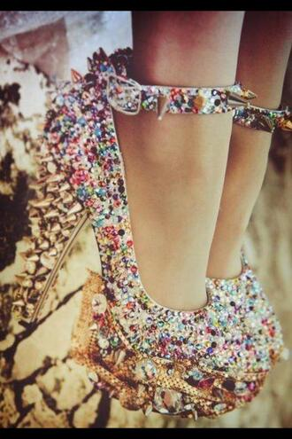 shoes colorful high heels cute weird original diamonds jewels studded wow wtf gold strappy stone pumps
