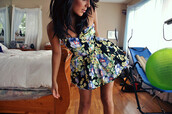 dress,lovely,floral,print,love,green,blue,flowers,summer,summer dress,strapless,floral dress,colorful,cute,pattern,pretty