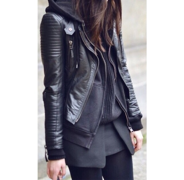 skirt leather jacket jumper sweater jacket