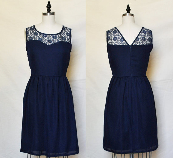LORRAINE Navy  Navy chiffon dress lace sweetheart door mfandj