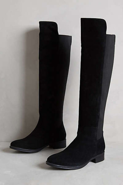 shoes black boots suede boots riding boots anthropologie fall outfits boots winter outfits knee high boots style fashion winter boots