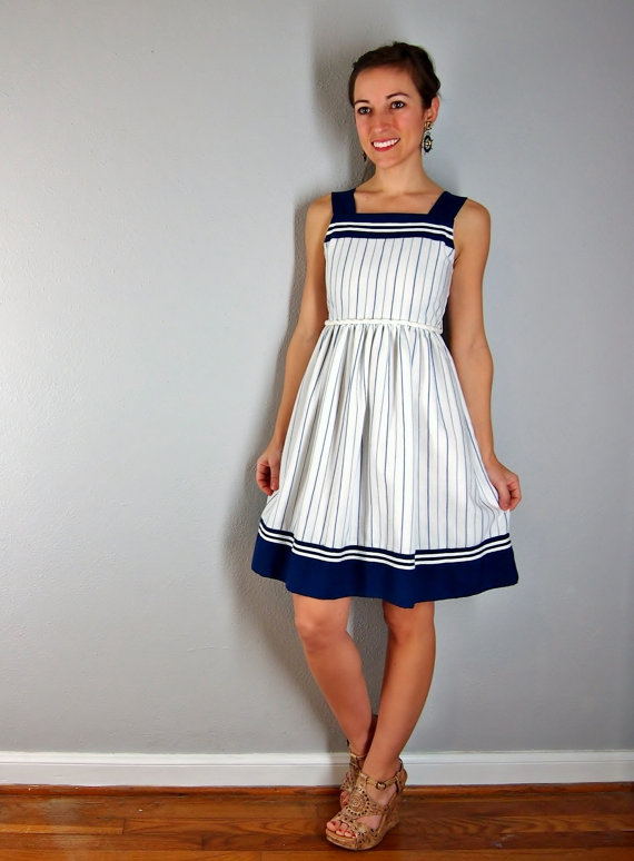 Vintage nautical dress, blue and white stripes sailor dress, xs