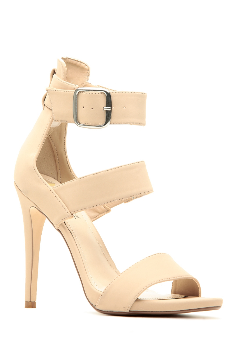 75493aa97 Nude Faux Nubuck Strappy Single Sole Heels @ Cicihot Heel Shoes online  store sales:Stiletto Heel Shoes ...