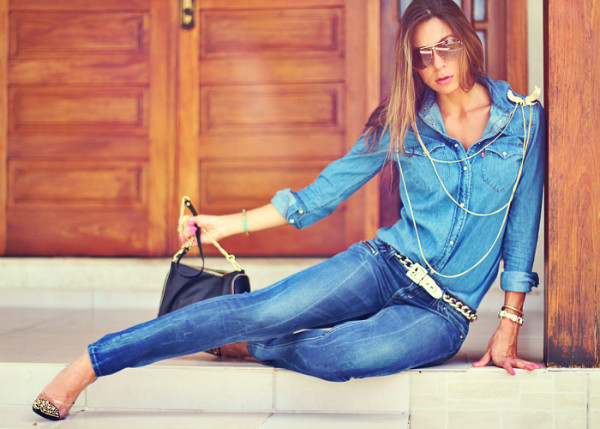 decor e salto alto jeans shirt