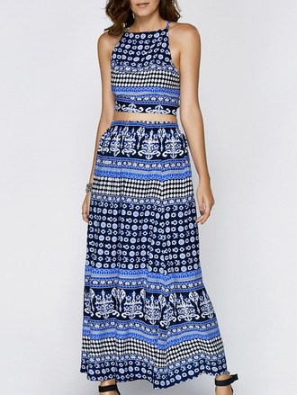dress maxi dress maxi skirt blue crop tops boho fashion style trendy dressfo