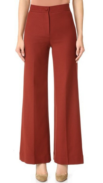 Helmut Lang High Waisted Wide Leg Pants - Cherry - Wheretoget