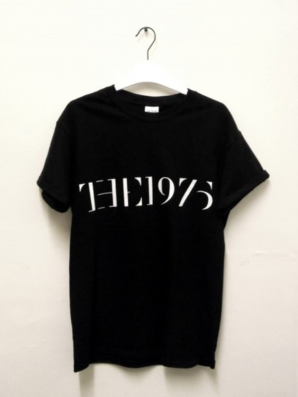 t-shirt girl style short sleeved the 1975 band the 1975 tshirt top black black and white the 1975
