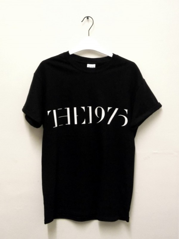t-shirt top black black and white the 1975 short sleeved the 1975 the 1975 tshirt girl style black t-shirt the 1975 band music music band girly boy outfit