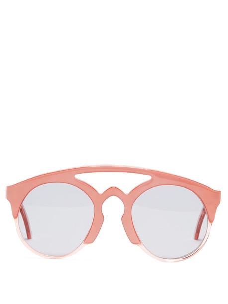 MARQUES'ALMEIDA Half-frame acetate aviator sunglasses in pink / multi