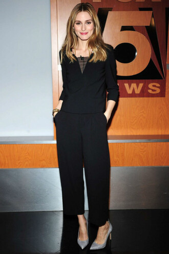 top pants black olivia palermo pumps