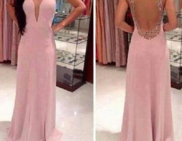 Sexy open back chiffon prom dress w..