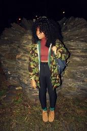 shoes,bag,vintage,old school,green,socks,brown shoes,black,leggings,black leggings,camouflage,camo jacket,vintage camouflage jacket,crop tops,top,t-shirt,pants,jacket,clothes,shirt
