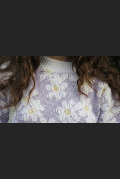 sweater soft jumper floral pale pastel flowers knit