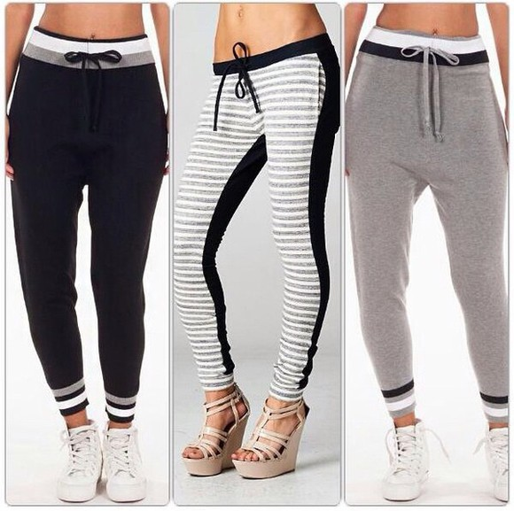 black navy joggers sweatpants girls comfy outfits chilling white grey