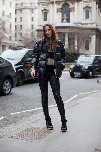 jacket striped sweater black puffer jacket black jeans black boots blogger