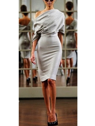 evening chic grey dress victoria beckham fall  2010 evening dress elegant victoria beckham classy