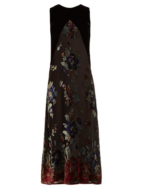 MASSCOB dress floral print velvet black
