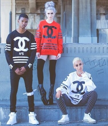 Eclothing — sweat homme femme coco chanel black, white or red