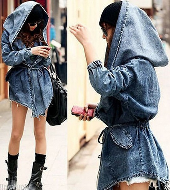 Jacket Fashion Casual Women Lady Denim Trench Coat Hoodie Hooded