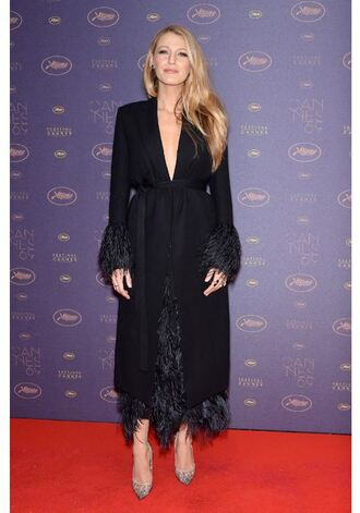 coat dress feathers blake lively pumps red carpet cannes shoes