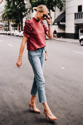 top,jeans,red top,denim,blue jeans,shoes,pumps