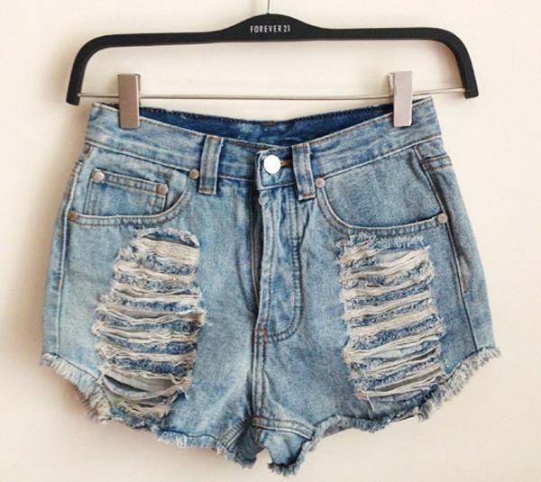 Waisted denim shorts