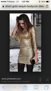 dress,sequin dress,gold,bodycon dress