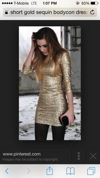 dress sequin dress gold bodycon dress