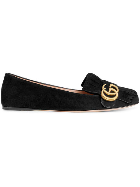 gucci women shoes leather suede black