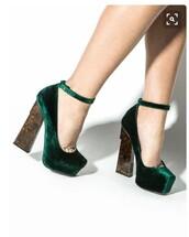 shoes,velvet,heels,suede,wedges,crushed velvet,velvet shoes,green heels,flats,kylie jenner