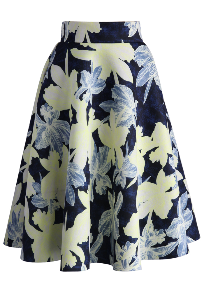 Illusive Orchid Sketch Airy Midi Skirt - Retro, Indie and Unique Fashion