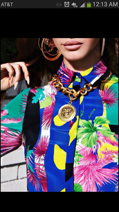 blouse,spring outfits,trendy,versace,chunky jewelry,gold chunky necklace,colorful bottom down top,tropical,haute couture,barbie,jewels