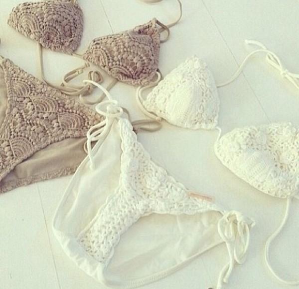 swimwear white begie lace cute crochet bikini white bikini beige bikini top bikini bottoms swimwear swimwear swimwear knitwear knitwear