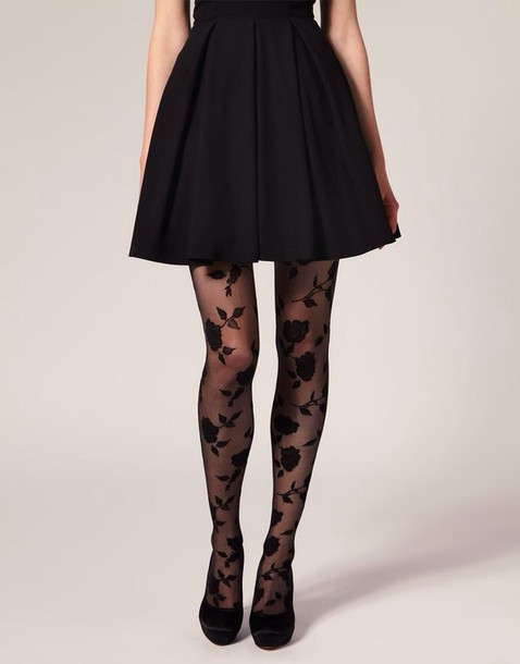 tights dress lace black floral vintage all black everything flowers pretty elegant black tights