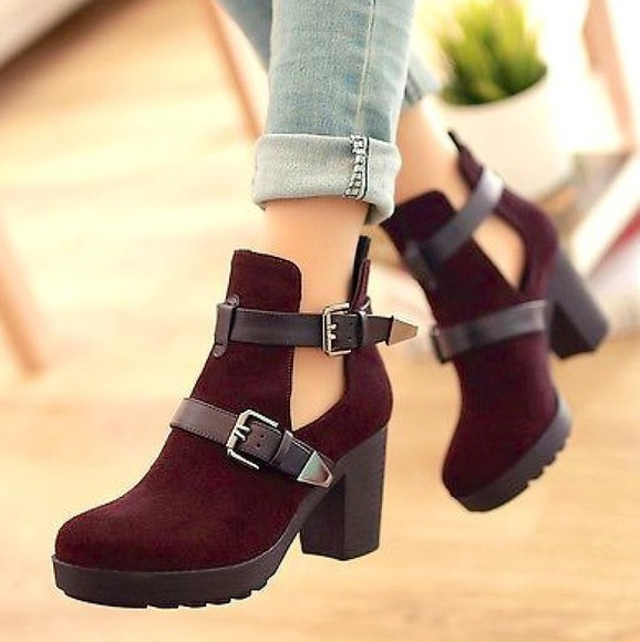 or boots cut out ankle boots buckle boots ankle buckle high heel high heel boots burgundy high heels black&bordeaux city life city outfits platform shoes burgundy boots boots red wine boots buckel up boots cute boots help me please ?