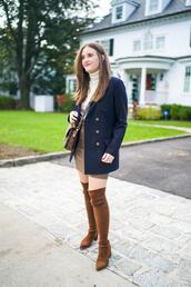 covering bases,curvy,blogger,sweater,jacket,skirt,shirt,boots,over the knee,blue jacket