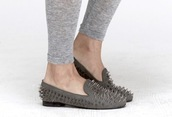 studs,slippers,flats,grey,shoes