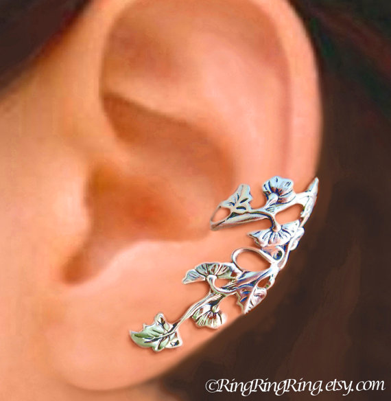 925. Art Nouveau Stream   Sterling Silver ear cuff by RingRingRing