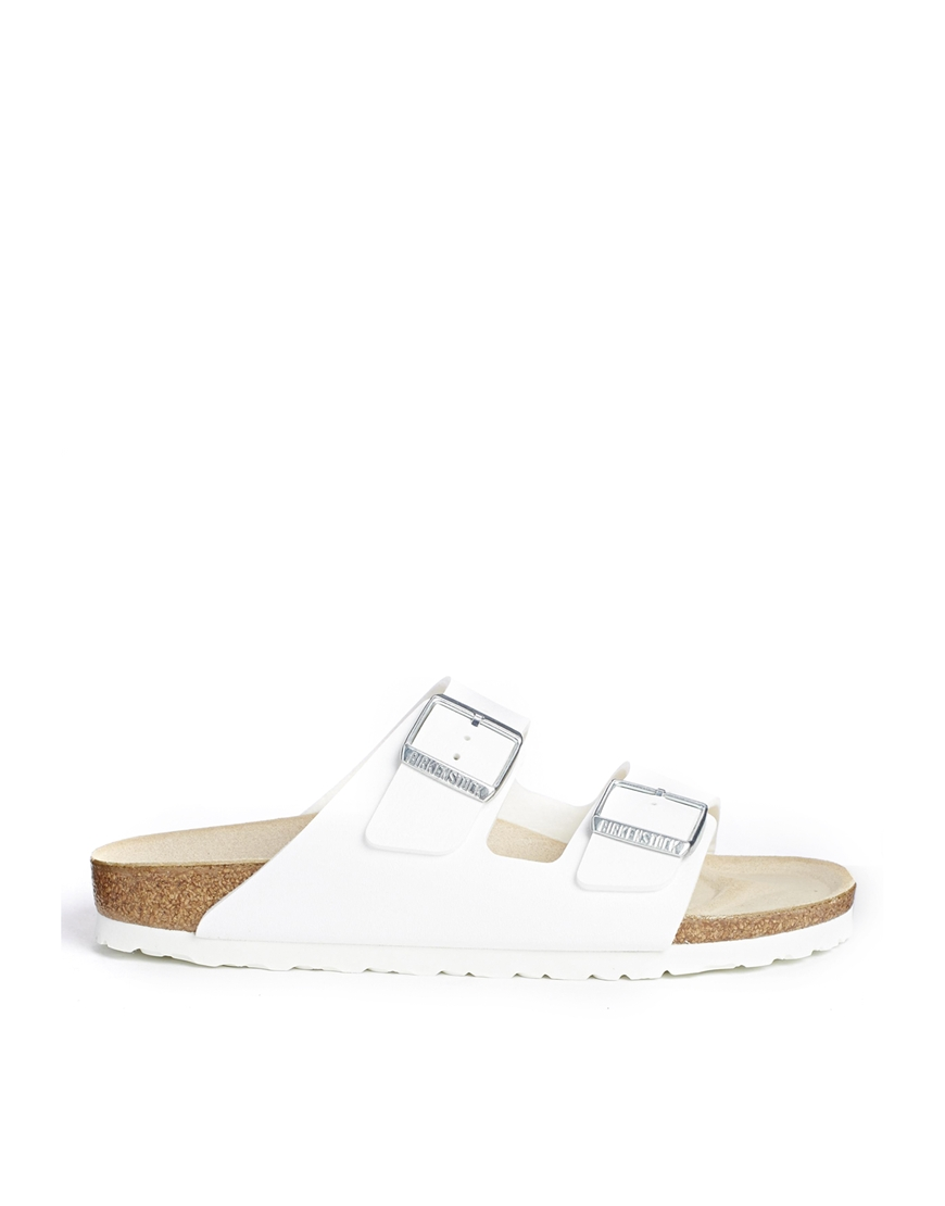 Birkenstock Arizona White Flat Sandals at asos.com