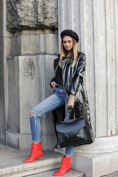 coat tumblr black coat leather coat beret boots ankle boots red boots denim jeans blue jeans bag black bag