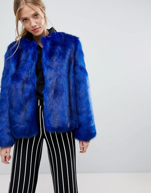 Bershka Faux Fur Jacket at asos.com