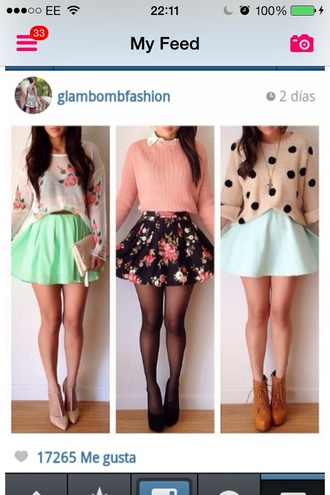 blouse bag belt skirt shoes t-shirt sweater jacket jewels shirt flowers floral skater skirt floral skirt top knitted sweater polka dot sweater outfit summer spring girly middle picture polka dots pink sweater cardigan all 3 skirts triable cute shirt mint skirt white and black skirt dress