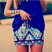 skirt,blue,tribal skirt,aqua,cobalt,pretty,summer,blouse,jewels,aztec,tribal pattern,aztec skirt,shirt,jewelry,gold cuff bracelet,sequins,blue skirt,royal blue,aztec print skirt,clothes